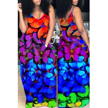 Lovely Casual Spaghetti Straps V Neck Butterfly Printed Multicolor Floor Length Dress