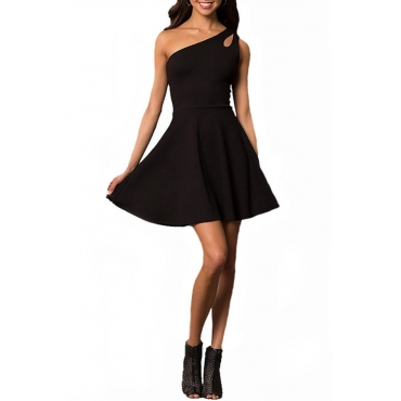 Lovely Stylish One Shoulder Hollow-out Black Mini A Line Prom Dress