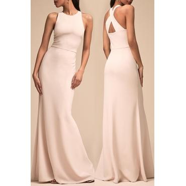 Lovely Elegant O Neck Hollow-out White Floor Length Prom Dress