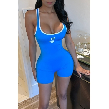 Lovely Casual Printed Patchwork Blue One-piece Romper