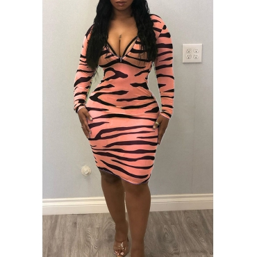 Lovely Casual V Neck Printed Zipper Design Pink Knee Length Dress