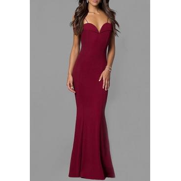 Lovely Elegant Off The Shoulder V Neck Spaghetti Straps Wine Red Floor Length Prom Dress
