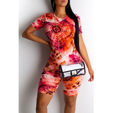 Lovely Casual O Neck Printed Red Two-piece Shorts Set