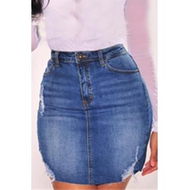 Lovely Casual High Waist Deep Blue Denim Mini Skirt