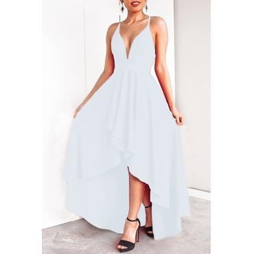 Lovely Casual Asymmetrical White Floor Length Prom Dress