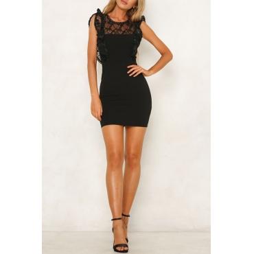 Lovely Sweet Lace Patchwork Black Mini OL Dress
