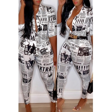 Lovely Casual V Neck Letter Printed White Two-piece Pants Set(Without Belt)