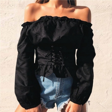 Lovely Stylish Off The Shoulder Lace-up Black Blouse