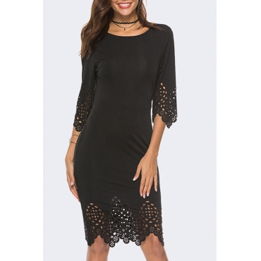 Lovely Casual O Neck Hollow-out Black Knee Length OL Dress