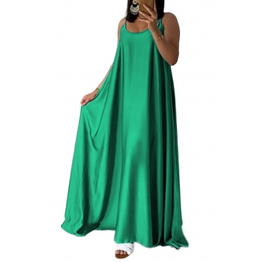 Lovely Casual U Neck Green Ankle Length Dress