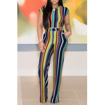 Lovely Leisure Striped Printed Black Two-piece Pants Set