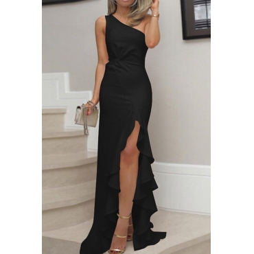Lovely Elegant One Shoulder Asymmetrical Black Floor Length Prom Dress