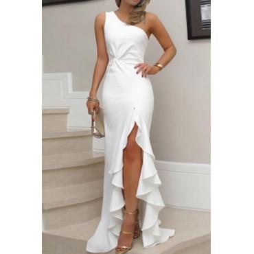 Lovely Elegant One Shoulder Asymmetrical White Floor Length Prom Dress