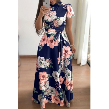 Lovely Bohemian Floral Printed Deep Blue Floor Length Dress