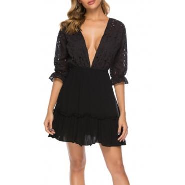 Lovely Sweet V Neck Lace Patchwork Black Mini Dress