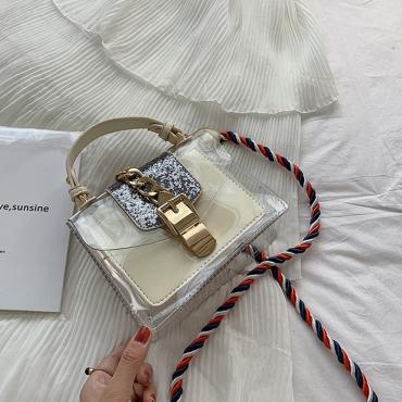 Lovely Stylish See-through White PU Messenger Bag