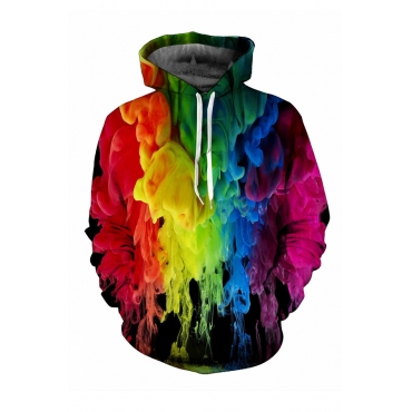 Lovely Casual Hooded-collar Printed Multicolor Hoodies
