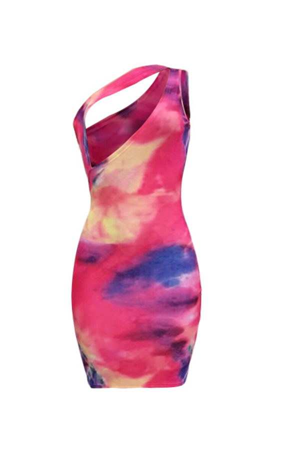 Lovely Sexy One Shoulder Tie-dye Multicolor Mini Dress