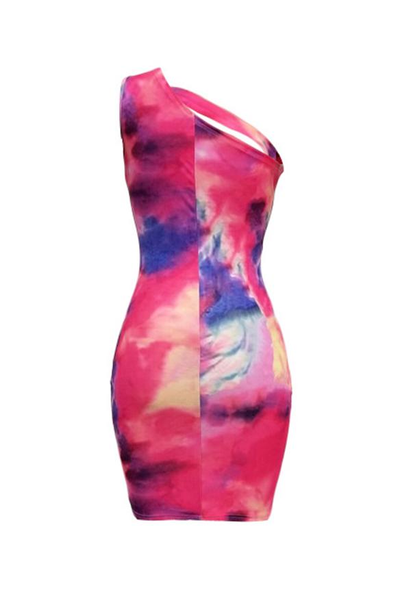 Lovely Sexy One Shoulder Tie-dye Multicolor Mini Dress