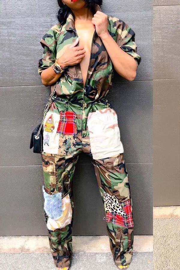 Lovely Patchwork Camouflage Printed One-piece Jumpsuit