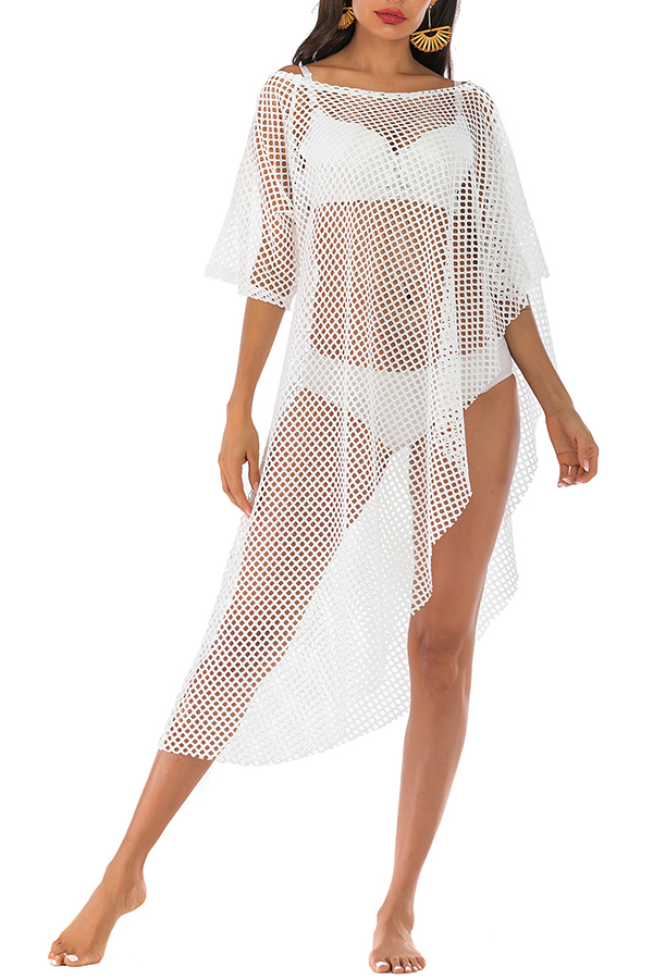 Lovely Sexy O Neck Hollow-out Asymmetrical White Cover-up