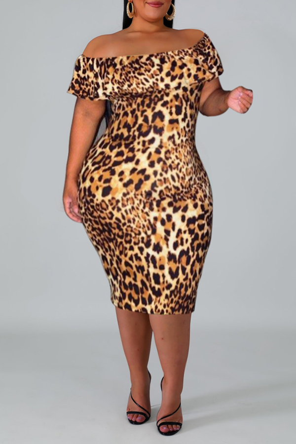 Lovely Stylish Off The Shoulder Leopard Printed Knee Length Plus Size Dress