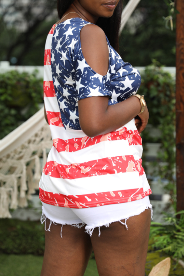 Lovely Independence Day Casual O Neck Off The Shoulder Printed Red T-shirt