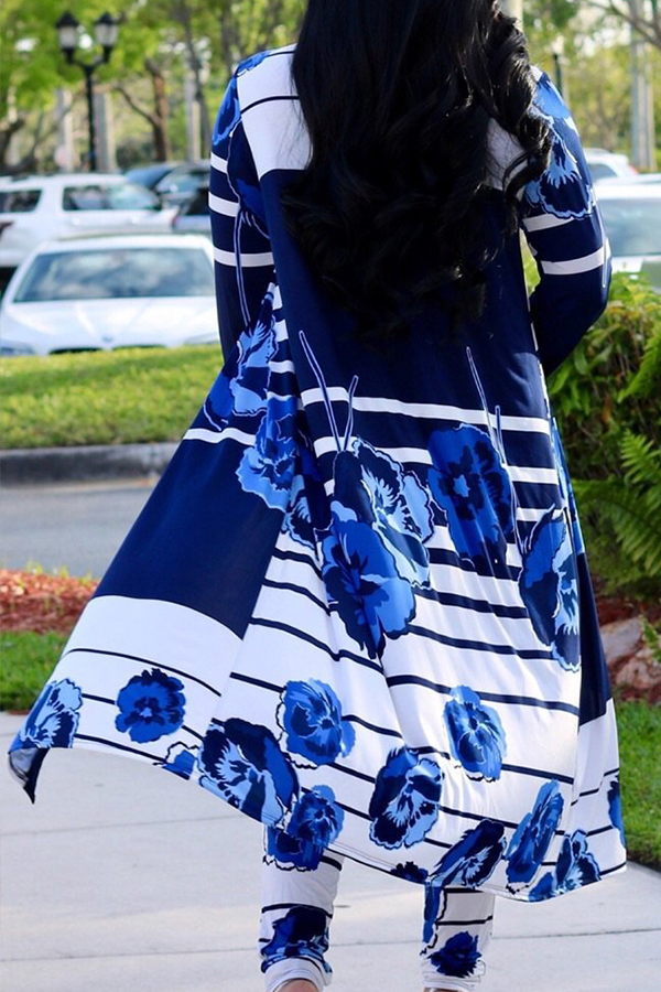 Lovely Stylish High Waist Printed Deep Blue Two-piece Pants Set