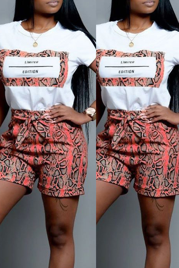 Lovely Casual O Neck Snakeskin Pattern Printed Croci Two-piece Shorts Set