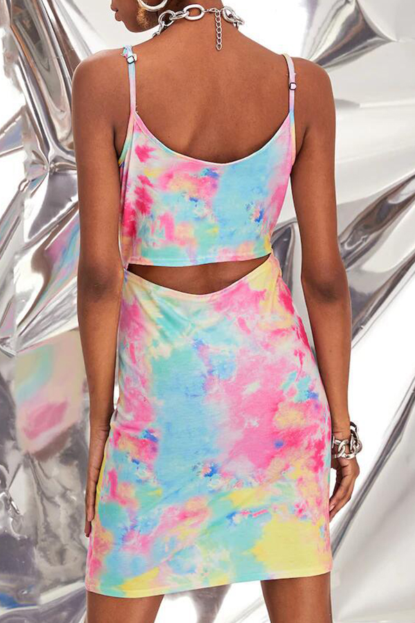 Lovely Casual Spaghetti Straps Tie-dye Multicolor Mini Dress