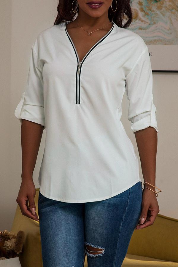 Lovely Casual Zipper Design White Blouse
