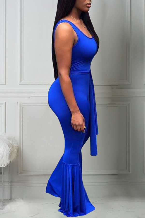 Lovely Casual U Neck Blue One-piece Jumpsuit