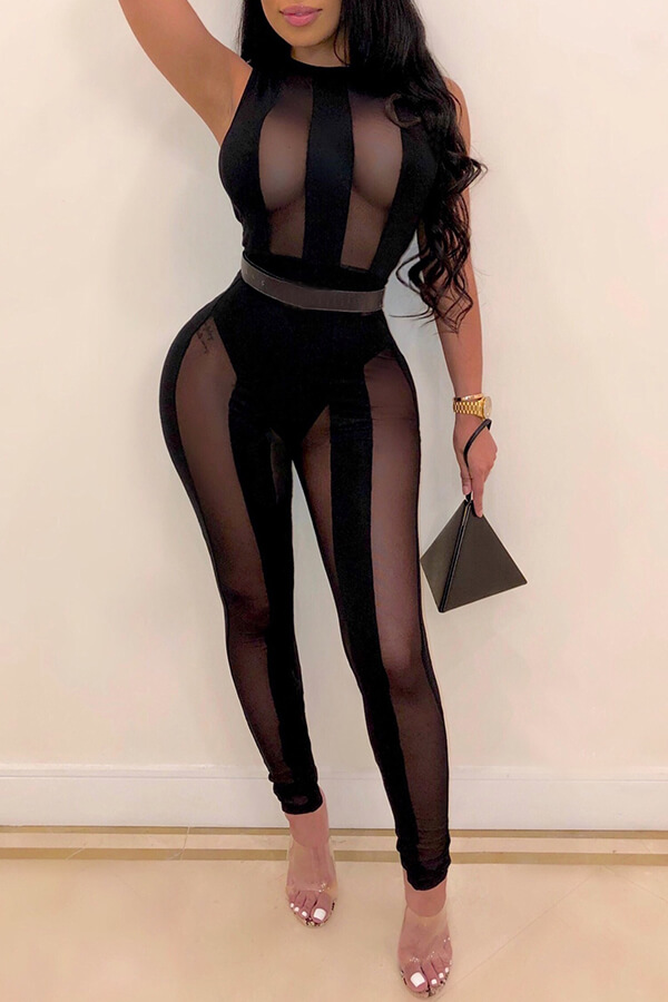 Lovely Sexy See-through Black One-piece Jumpsuit(Without Belt)