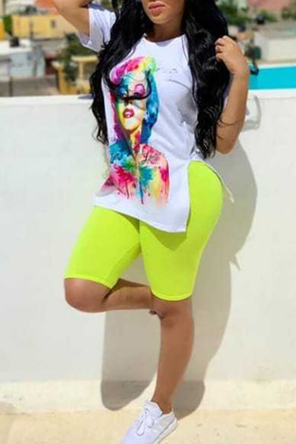 Lovely Lovelywholesale Casual O Neck Print White Two-piece Shorts Set фото
