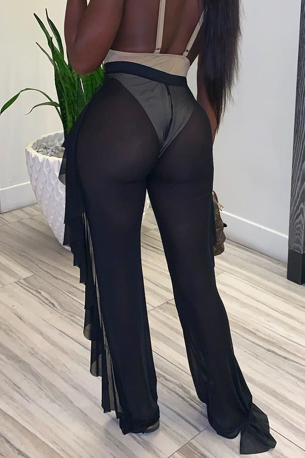 Lovely Sexy See-through Black Pants(Without Lining)