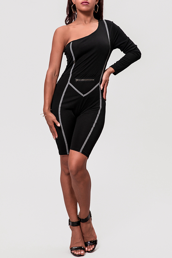 Lovely Casual One Shoulder Black One-piece Romper