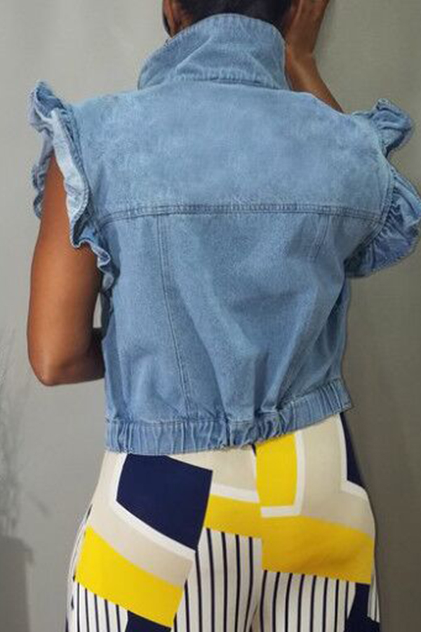 Lovely Stylish Buttons Design Ruffle Baby Blue Denim Coat