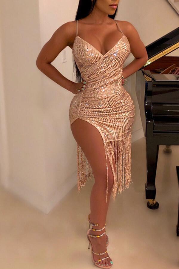 Lovely Sexy V Neck Spaghetti Straps Tassel Design Gold Knee Length Dress
