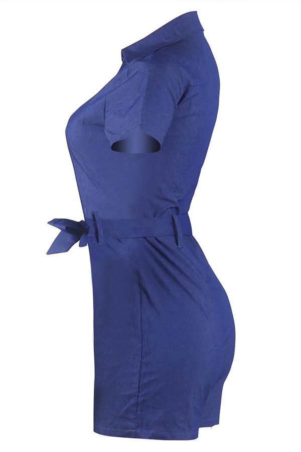 Lovely Stylish V Neck Zipper Design Dark Blue One-piece Romper