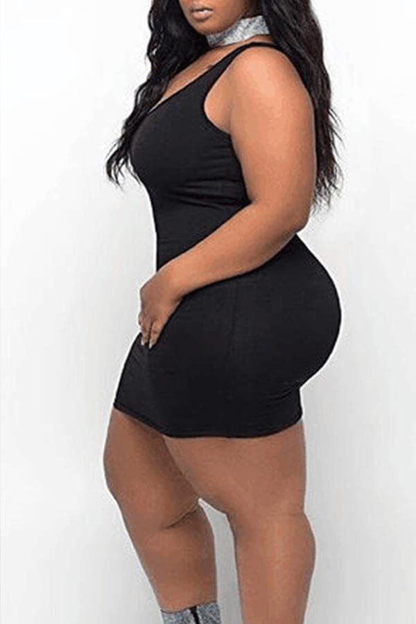 Lovely Casual Tank Sleeveless Black Plus Size Mini Dress