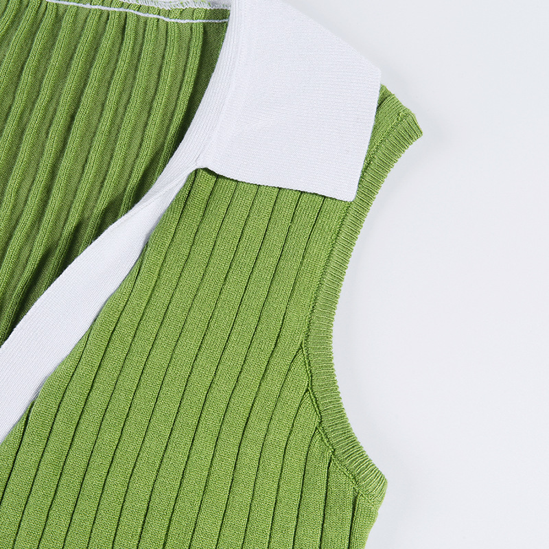 Lovely Casual Turndown Collar Patchwork Green Cotton Camisole