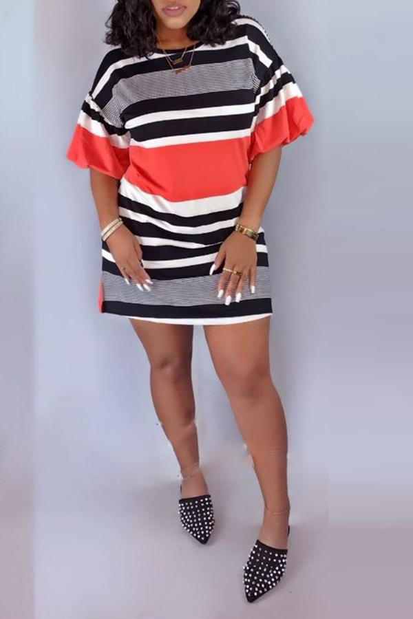 Lovely Casual O Neck Hubble-bubble Sleeve Striped Red Mini A Line Dress