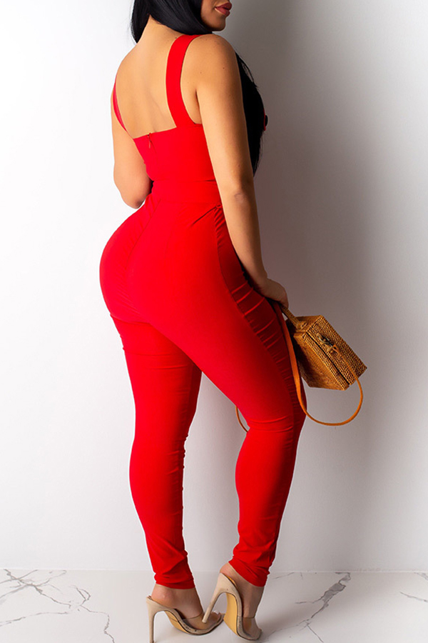 Lovely Casual Spaghetti Straps Buttons Design Red One-piece Jumpsuit
