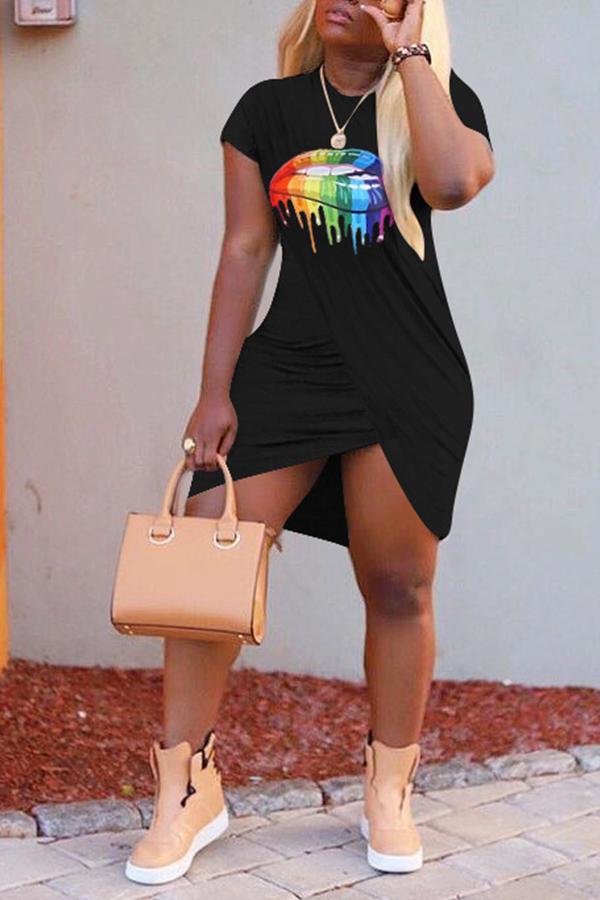Lovely Casual Lip Printed Cross-over Design Black Mini Dress