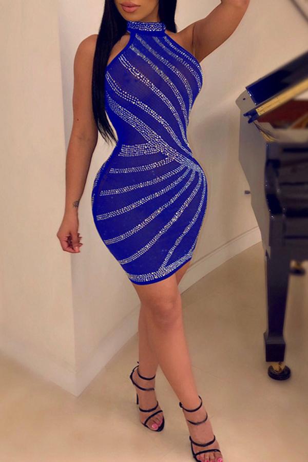 Lovely Casual Sleeveless Hot Drilling Decorative Blue Mini Dress