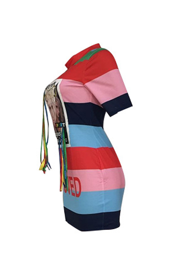 Lovely Casual O Neck Color-lump Patchwork Multicolor Mini Dress