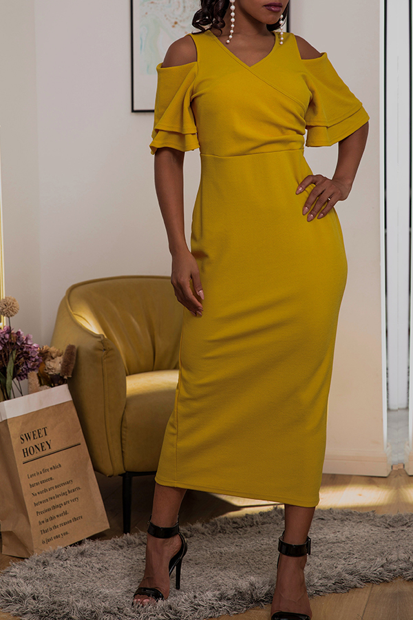 Lovely Casual V Neck Hollow-out Yellow Mid Calf Dress