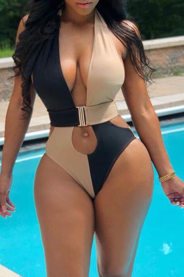 Lovely Patchwork Hollow-out Black One-piece Swimsuit