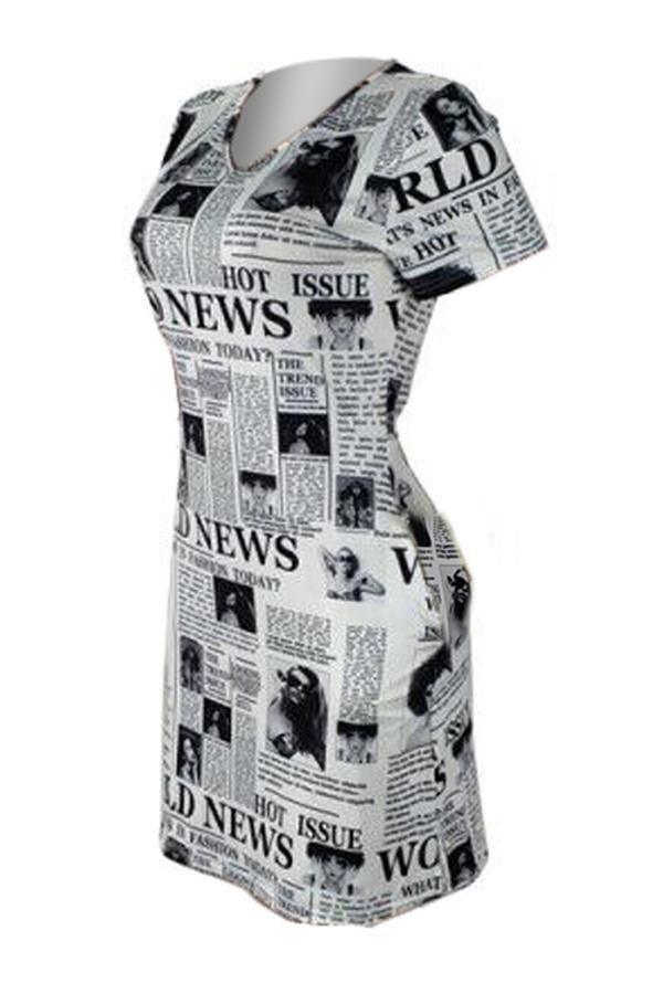 Lovely Casual V Neck Letter Printed White Mini Dress