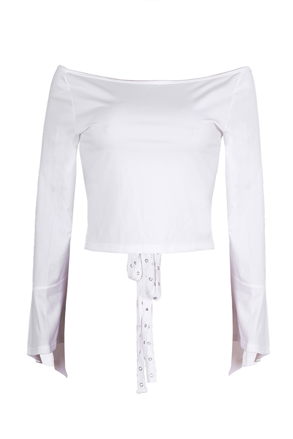 Lovely Casual Dew Shoulder White Blouse